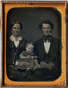 W. K. Brown, His Wife, and Baby Minnie Brown, 1/4th-Plate Daguerreotype, Circa 1852 |