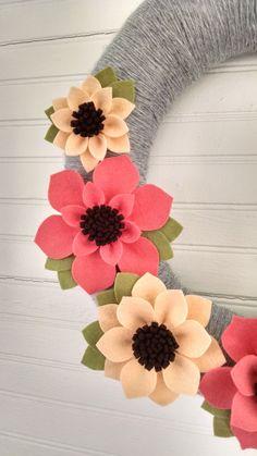 Guirnalda guirnalda de flores de fieltro guirnalda por madymae