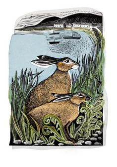 """Golden Hares at Rathlin"" by Angela Harding (lino and silkscreen)"