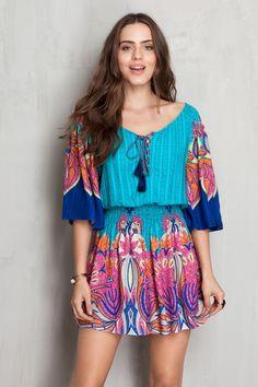 vestido manga longa ampla estampado maresia   Dress to