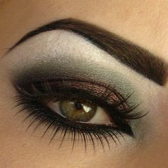 !!!  Smokey eye for hazel eyes--cranberry, green, and black
