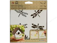 """Stenciling is the easiest way to decorate walls, furniture, paper crafts, scrapbooking projects, fabric projects, small accessories and personalizing any paintable surface. Folkart Painting Dragonflies- One 6""""x 6"""" laser cut stencil with four different dragonflies, flying above a field of grass."""