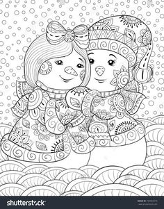 Adult coloring page,book a cute pair of snowmen wearing christmas coats and hat.Zen art style illustration.