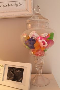 Pacifier storage....Love this idea for a nursery, looks so pretty. The link is bad and I can't find it but could prob. make with a glass candel stick holder and a nice jar glued together!