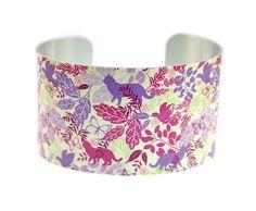 Cuff bracelet, cat jewellery, women's nature bangle with animals and birds. C112 £19.50