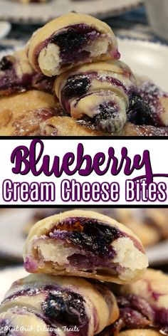 Blueberry Cream Cheese Bites make a delicious dessert with each bite filled with cream cheese and blueberry filling. Blueberry Desserts, Köstliche Desserts, Delicious Desserts, Dessert Recipes, Yummy Food, Blueberry Cream Cheeses, Desserts With Blueberries, Blueberry Bread, Kraft Recipes