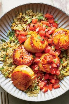 Here we season quick-cooking scallops with inspiration from Caribbean pepper pot recipes. To get a nice sear on the scallops without any sticking, be Fish Recipes, Seafood Recipes, Cooking Recipes, Healthy Recipes, Scallop Dishes, Scallop Recipes, Watermelon Salsa, Watermelon Recipes, Pepperpot Recipe