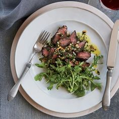 Hanger Steak with Herb-Nut Salsa | Naomi Pomeroy, a F&W Best New Chef 2009, shares her updated version of salsa verde with toasted hazelnuts and doubling the herbs. The salsa is a vibrant addition to simple grilled hanger steak.