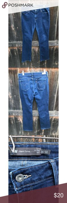 """levi jeans demi curve Size 14. Length 32. Total length from top Of jeans to bottoms laying flat.  40.5"""" boot cuff opening 8"""" laying flat. Waist - 16""""   These jeans have a good amount of stretch to them. Good used condition. No holes or wear on inner thigh.  Pet free smoke free home. Remember to bundle so I️ can send you a private offer 珞 Levi's Jeans Flare & Wide Leg"""