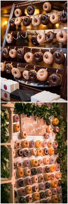 Donut Wedding Reception Ideas #weddings #cakes #donuts #weddingreceptions #weddingideas ❤️ http://www.rosesandrings.com/wedding-donut-bar-ideas/