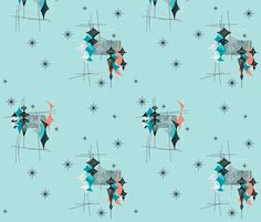 Diamand - Aqua/Salmon/Turquoise fabric by gammagammahey on Spoonflower - custom fabric