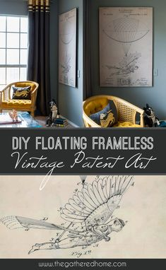 DIY Floating Frameless Vintage Patent Art