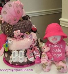 Baby Shower Diaper Cake & Baby