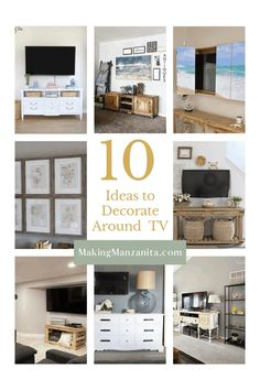 Are you struggling with decorating a TV (or even harder... decorating around a wall mounted TV)? These 10 ideas are sure to inspire you. Learn how to decorate around a TV like a pro. Small Space Living Room, Living Rooms, Wall Decor Crafts, Diy Crafts, Home Decor Items, Diy Home Decor, Tv Nook, Decorating Your Home, Decorating Ideas