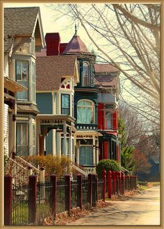 Nice row of lovely painted Victorians