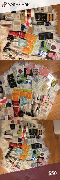 MAKEUP SAMPLES ALL DIFFERENT BRANDS FOR YOU TO TRY Samples- Lancome, Claudalie, Nude, Sephora, IT ( mascara & CC cream x 4 ),Urban Decay (mascara), Weil, Vivo, DHC, Benefit, Becca, Josie Maran, Avene, Burberry, Purminerials, Dr Jart, Juice Beauty, Ole Henrickson, L'Oréal, Sibu, Tarte, Hello Fab, MD Solar Science, Origins, First aid beauty, Glo- Minerals,Fresh, Viva Liberata, signature Club A rapid Vit c - used, Derma E creams - used, Some of the sample bottles are used- not a lot taken out…