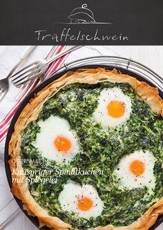 Ein Osternest aus dem Ofen! Knuspriger Spinatkuchen mit Spiegelei