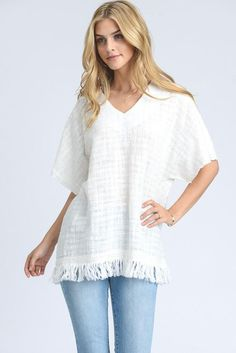 Cotton Short Sleeve Top with Fringe Trim Detail Model is wearing size Small White Texture, Professional Women, Cool Fabric, Fringe Trim, Ladies Boutique, Cotton Shorts, Tunic Tops, Model, How To Wear