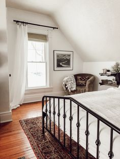 Modern, Vintage Victorian House Tour — Thoughtfully Thrifted White Master Bedroom with Persian Rug Victorian Bedroom, Home Decor Bedroom, Vintage Home Decor, Victorian Homes, Bedroom Vintage, Home, Bedroom Design, Small Bedroom, Modern Bedroom