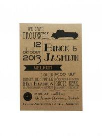 Vintage kaart Bink & Jasmijn | Trouwlabels | Huis & Grietje
