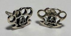 Sterling Silver Skull Knuckle Duster Brass Knuckle Earrings 925