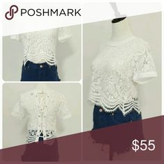 White Short Sleeve Lace Crop Top Lace Up Back 🎉🎉Hurry Ladies Only 1 In Each Size🎉🎉  💜White Short Sleeve All Over Lace Crop Top With Lace Up Back💜  🚩Size small has a few tiny dots on inside collar which isn't noticeable while worn🚩          🚫No Trades Price Firm🚫 ✈✈Ships Same Or Next Day✈✈ April Spirit Tops Crop Tops