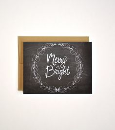 Merry and Bright Holiday Card - Hand Lettered Christmas Chalkboard Card and Gold Envelope - Holiday Card Seasons Greeting Card
