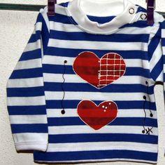 Námořnické triko se srdcem vel. 56 Dětské tričko s dlouhým rukávem a zapínáním na druky, bavlna, 180 g/m2, český výrobek - příjemný silnější bavlněný úplet, 95% bavlna + 5 % elastan - barva bílo - modrá, patentky na ramínku až do vel.80 - ručně malovaný motiv srdíčka,bílákontura vel. 56 IHNED velikosti na objednání 62-98. Zapínání na druky jen do vel. ...