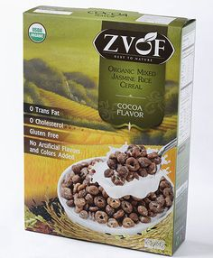 Zvof Organic Mixed Jasmine Rice Cereal : Cocoa Flavor  GLUTEN-FREE LOW SUGAR LEAST PROCESSED CEREAL BUT LOW GLYCEMIC INDEX made with whole organic Jasmine rice grain available in both USDA Organic and Eu Organic