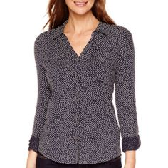 Liz Claiborne® 3/4-Sleeve Button-Front Knit Shirt  found at @JCPenney I have this top in 4 colors. Black, Purple, Medium Blue, Grey