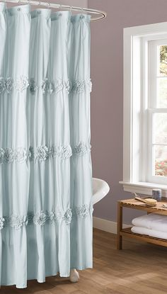 Spa Blue Darla Shower Curtain Bathroom Accessories Farmhouse Shabby Chic