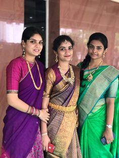 Saree Blouse Neck Designs, Lehenga Designs, South Indian Wedding Saree, Indian Bridal Fashion, Saree Models, Stylish Sarees, Wedding Dresses For Girls, Indian Outfits, Indian Attire