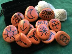 Welsh SEA STONE WITCHES RUNES. 13 Rune Stones & Pouch - Pagan/Witch/Wicca/Fae