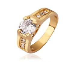 Lady's Brass Gold Plated Engagement Ring with Clear Round Swarovski Elements Stones - Size 8 Fashion Rings, Fashion Jewelry, Women Jewelry, Unique Jewelry, Gold Gold, 18k Gold, Jewellery Sketches, Party Rings, Gold Plated Rings