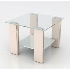 Tia Lamp / End Table With Clear Glass Top Buy Lamps, Rounded Rectangle, Contemporary, Modern, End Tables, Clear Glass, Chrome, Table Lamp, Living Room
