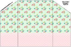 Envelope Convite Floral Verde e Rosa