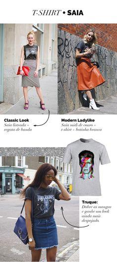 Layla Monteiro 8 looks com camiseta de banda. Com saia midi listrada, com saia de couro laranja e comsaia jeans curta. David Bowie t-shirt.