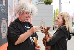 June 20th, 2014: King Buzzo meets Jme, Hannah and little Melvin before his radio interview! #melvins#kingbuzzo