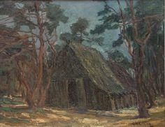 """Dennen rond een schaapskooi, een olieverf 41 x 52 cm. Ik denk dat Arnold Koning het schilderij voor 1900 in de omgeving van Ede gemaakt heeft. De pasteus geschilderde schaapskooi, de uitgewerkte bomen en een """"vroege""""  signatuur, zijn daarvoor de aanwijzingen. Het schilderij werd aangeboden op internetveiling Catawiki in okt. 2015. Dit soort schilderijen is nu zo uit de mode dat de prijs beneden de €100 bleef."""