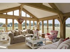 Incredible views in the snug.Modern Country Style: A Stunning Scandinavian/ New England House Tour Click through for details. Country House Interior, Oak Framed Buildings, Oak Frame House, New Homes, House, New England Homes, Building A House, England Houses, Ideal Home