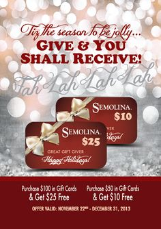 Semolina 2013 Holiday Promo Table Tent