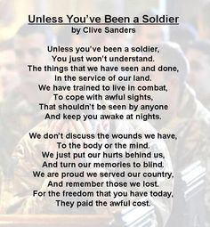 Unless you have been a Soldier!