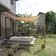 タカショー/日除け タープ /シェードセイル・スクエア 四角形 大 カラー:ベージュ系 サイズ:本体/5×3m(コーナー金具/約W60×H53mm) Porch Swing, Outdoor Furniture, Outdoor Decor, Indoor Garden, Garden Projects, Rooftop, Canopy, Pergola, Deck