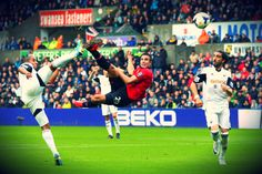 Robin van Persie scored his firts goal in the new Premier League season with an acrobatic volley in Manchester United's win at Swansea City on Saturday Manchester United Goal, Official Manchester United Website, Liga Premier, Robin Van, Van Persie, English Premier League, Swansea, Man United, Sports Pictures