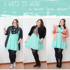 http://kathastrophal.de // Plus Size Fashion | Three Ways to Wear a Mint Lace Dress #plussize #fatshion