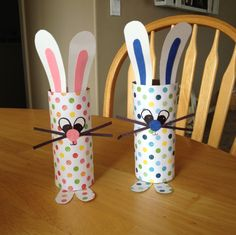 Toilet paper roll bunnies Lucas and I made.
