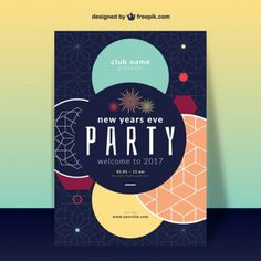 New Years Eve Party, Geometric Shapes, Vector Free, Typography, Names, Posters, Inspiration, Design, Letterpress