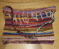 Rag rug bag colorful messenger bag large bohemian tote | Etsy Diy Handbag, Diy Purse, Coin Bag, Fabric Strips, Fabric Bags, Quilted Bag, Vintage Fabrics, Fabric Covered, Large Bags