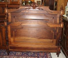 86d58ed2c14a0 Beautiful French Antique Solid Walnut Louis XVI Full Size Bed   LouisXIIIXIVXVXVI