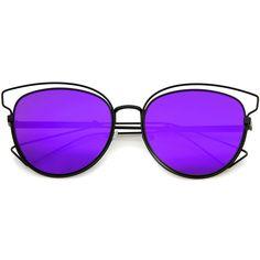 Womens Fashion Open Metal Frame Mirrored Lens Cat Eye Sunglasses 55mm